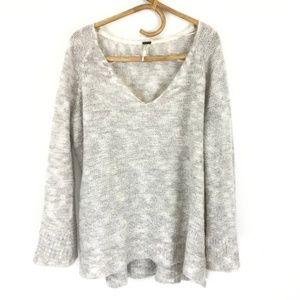 Free People Light Grey Alpaca Bell Sleeve Knit M
